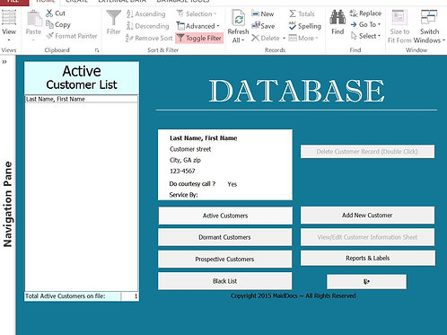 Database template,house cleaning,maid service, customer, database, cleaning company