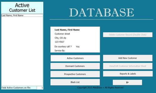 microsoft access client database template - customer database house cleaning business forms