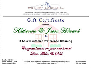 new home gift certificate house cleaning