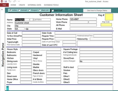 microsoft access template this pre formatted database template is specifically for a house cleaning company