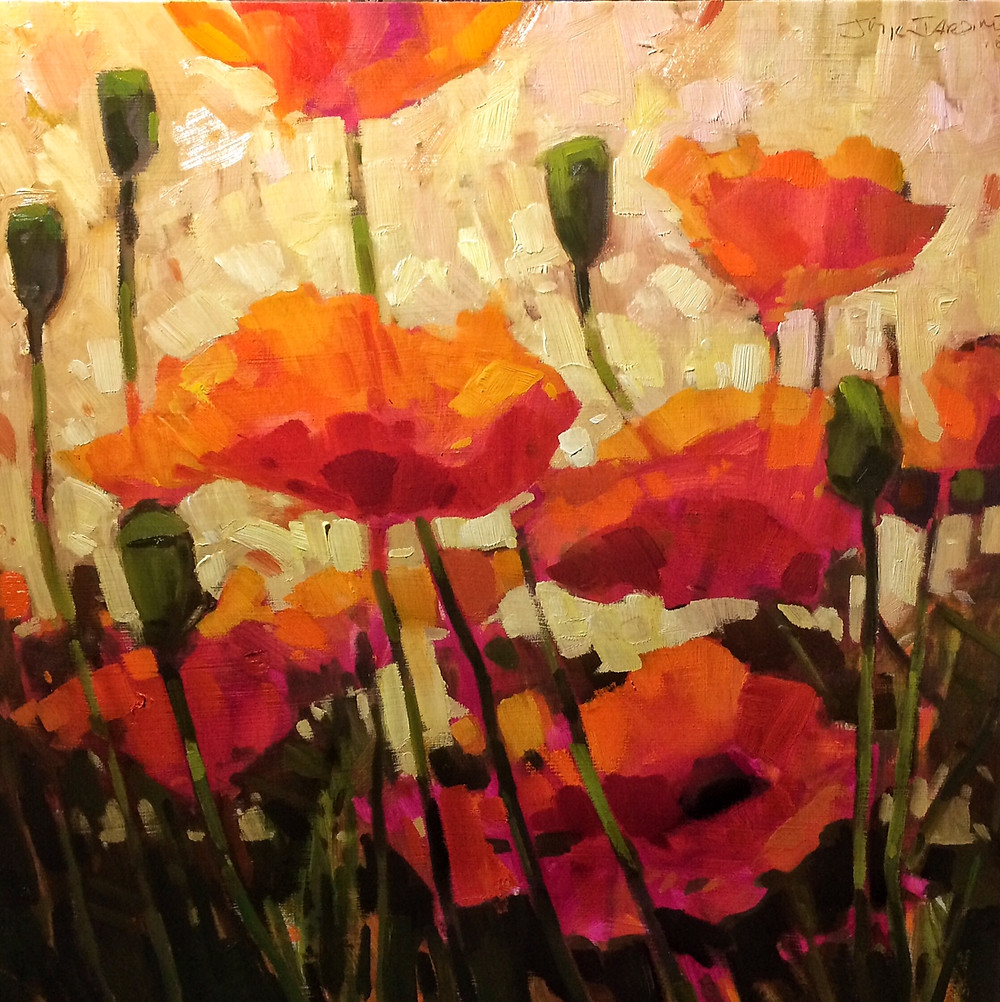 "Poppies on Bruce St. 20"" x 20"" oil $800"