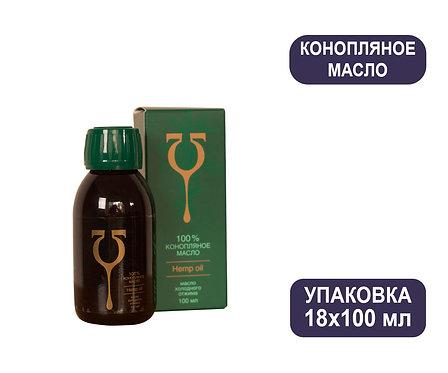 Упаковка Конопляное масло «Эльфа» - аптечная серия. Стекло, коробка. 100 мл.