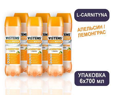 Упаковка VISTENS Vitamin Water L-carnityna (апельсин/лемонграс). ПЭТ. 700 мл