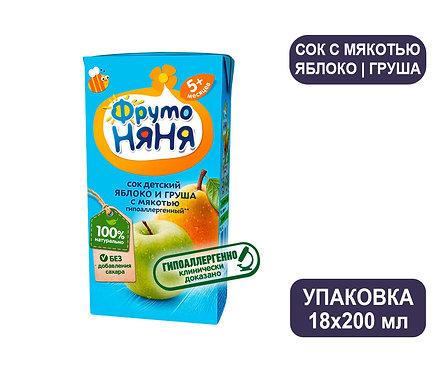 Коробка ФрутоНяня Сок яблочно-грушевый с мякотью. Тетра-пак. 200 мл.
