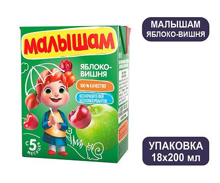 Коробка ФрутоНяня Малышам Нектар яблоко-вишня осветленный. Тетра-пак. 200 мл.