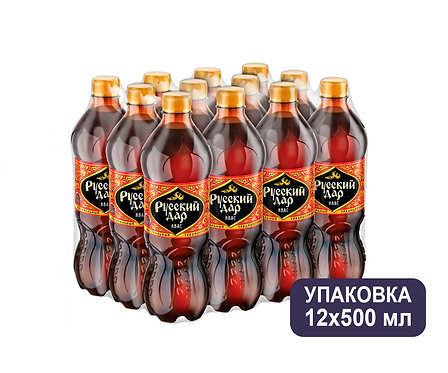 Упаковка Квас Русский Дар. ПЭТ. 500 мл.