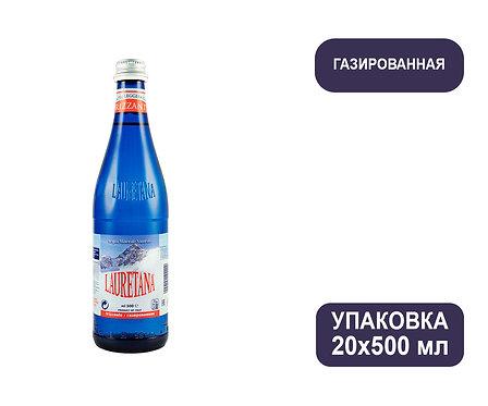 Упаковка воды Lauretana. Италия. Blue Glass. С газом, 500 мл. Стекло