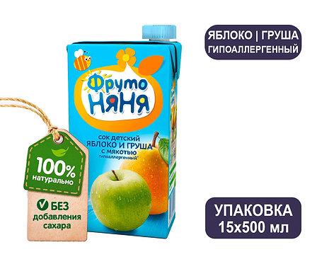 Коробка ФрутоНяня Сок яблочно-грушевый с мякотью. Тетра-пак. 500 мл.