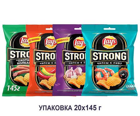 Коробка чипсов Lays Strong. 145 г. (охотничьи колбаски, острый чили и др)