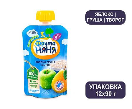 Коробка ФрутоНяня Пюре яблочно-грушевое с творогом. Гуала Пак. 90