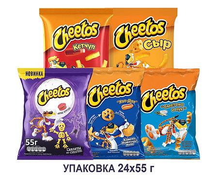 Коробка Cheetos. 55 г. (сыр, кетчуп, сметана&лук, краб, хот дог)