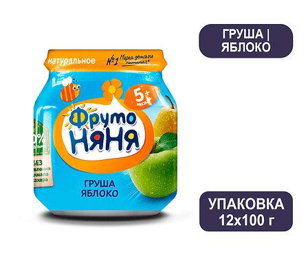 Упаковка ФрутоНяня Пюре из груш и яблок натуральное. Стекло. 100 г.