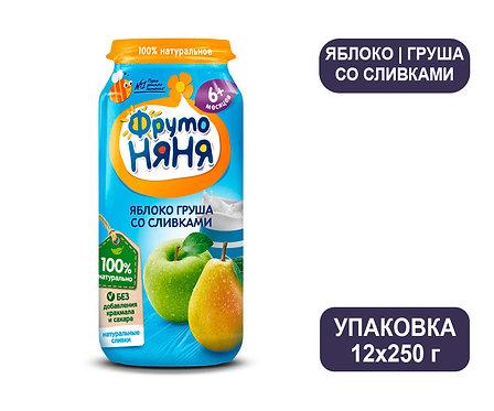 Упаковка ФрутоНяня Пюре из яблок и груш со сливками. Стекло. 250 г.