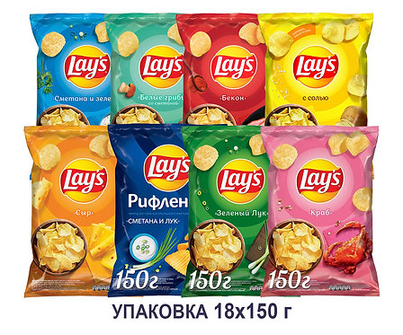Коробка чипсов Lays. 150 г. (сыр, зеленый лук, сметана&зелень, бекон, краб и др)