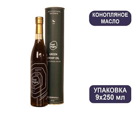 Упаковка Конопляное масло Feel Right Green. Подарочная: Стекло, тубус. 250 мл.