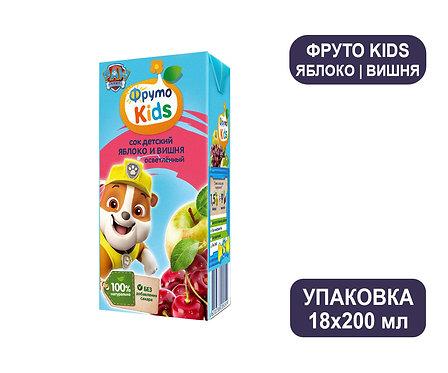 Коробка ФрутоНяня ФрутоKids Сок из яблок и вишни осветленный. Тетра-пак. 200 мл.