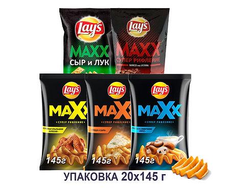 Коробка чипсов Lays Maxx. 145 г. (сыр и лук, куриные крылышки барбекю и др)