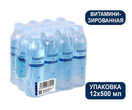 Упаковка Essential Aqua 25, ПЭТ, Вода негазированная витаминизированная