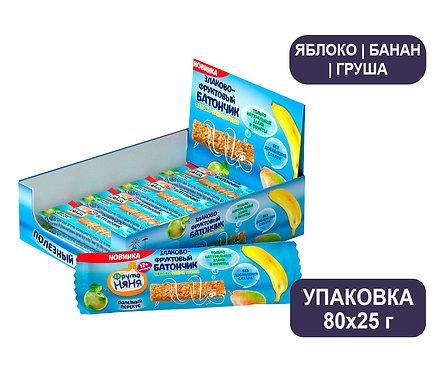 Коробка ФрутоНяня Злаково-фруктовый батончик «Яблоко-Банан-Груша»