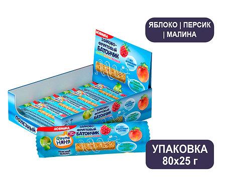 Коробка ФрутоНяня Злаково-фруктовый батончик «Яблоко-Персик-Малина»