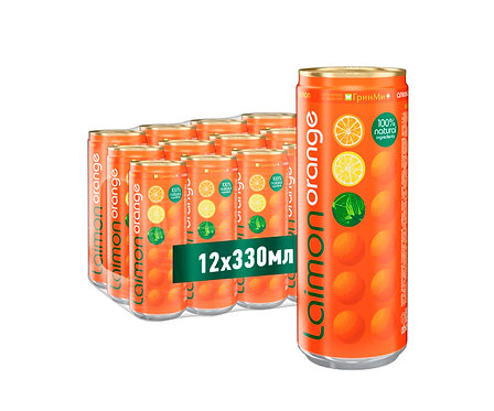 Упаковка Laimon Orange. Ж/б. 330 мл.