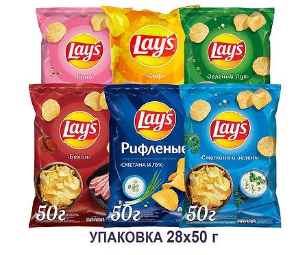 Коробка чипсов Lays.50 г.(Сыр, сметана с зеленью, краб, бекон, зелёный лук и др)