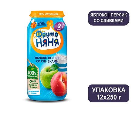 Упаковка ФрутоНяня Пюре из яблок и персиков со сливками. Стекло. 250 г.