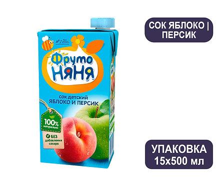 Коробка ФрутоНяня Сок яблочно-персиковый. Тетра-пак. 500 мл.