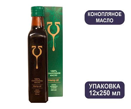 Упаковка Конопляное масло «Эльфа» - аптечная серия. Стекло, коробка. 250 мл.