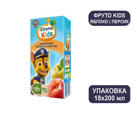 Коробка ФрутоНяня ФрутоKids Сок яблочно-персиковый. Тетра-пак. 200 мл.