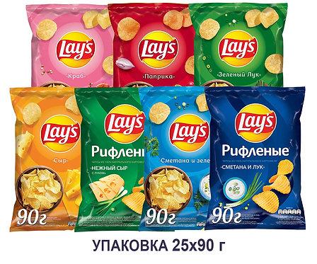 Коробка чипсов Lays. 90 г.(сыр, краб, паприка, рифленый нежный сыр с луком и др)