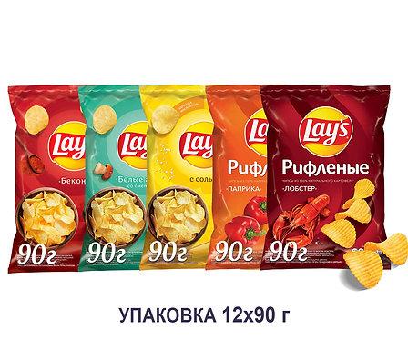 Коробка чипсов Lays.90 г.(бекон, белые грибы со сметаной, рифленая паприка и др)