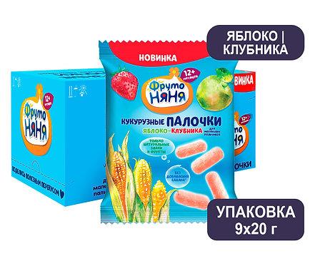 Коробка ФрутоНяня 20г. Палочки кукурузные с яблоком и клубникой.