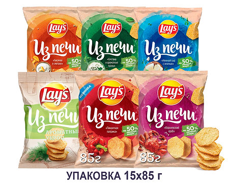 Коробка чипсов Lays из печи. 85 г. (ароматный укроп, лисички в сметане и др)