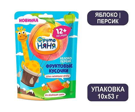 Коробка ФрутоНяня Фруктовые кусочки из яблок и персиков