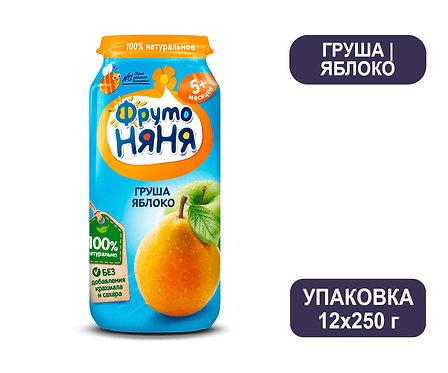 Упаковка ФрутоНяня Пюре натуральное из груш и яблок. Стекло. 250 г.
