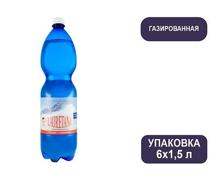 Упаковка воды Lauretana. Италия. С газом, 1,5 л. ПЭТ