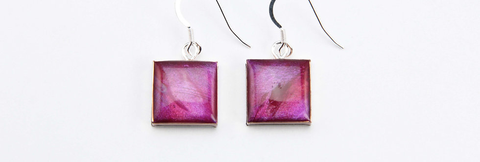 'Bougainvillea' Small Square Earrings