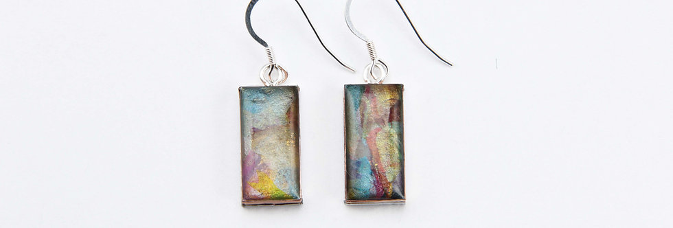 Blue & Bronze Small Rectangular Earrings