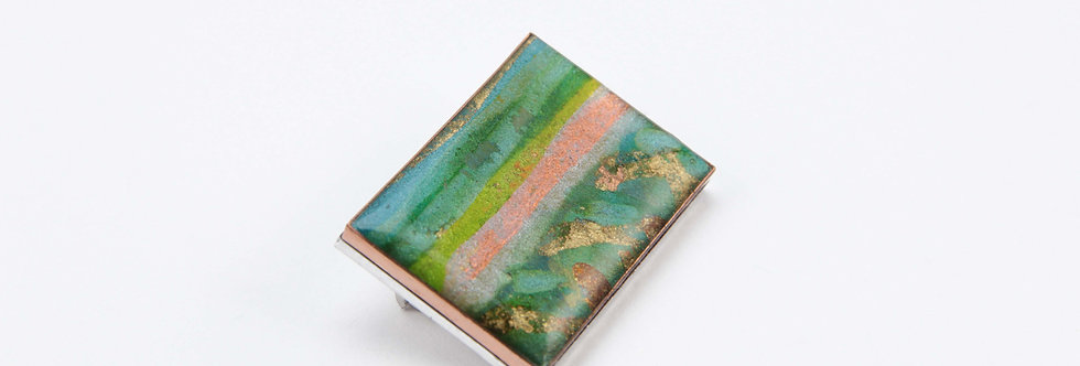 Green & Copper Rectangular Brooch