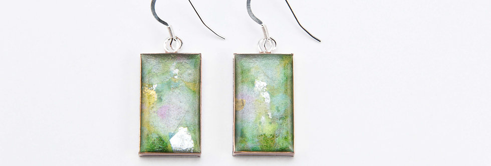 'Pink Wisteria' Large Rectangular Earrings