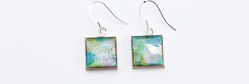 'The Garden' Small Square Earrings