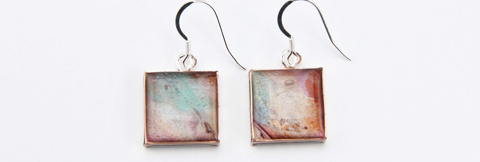 'The Old Wall' Large Square Earrings