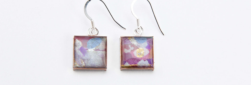 'Wild Flowers' Small Square Earrings