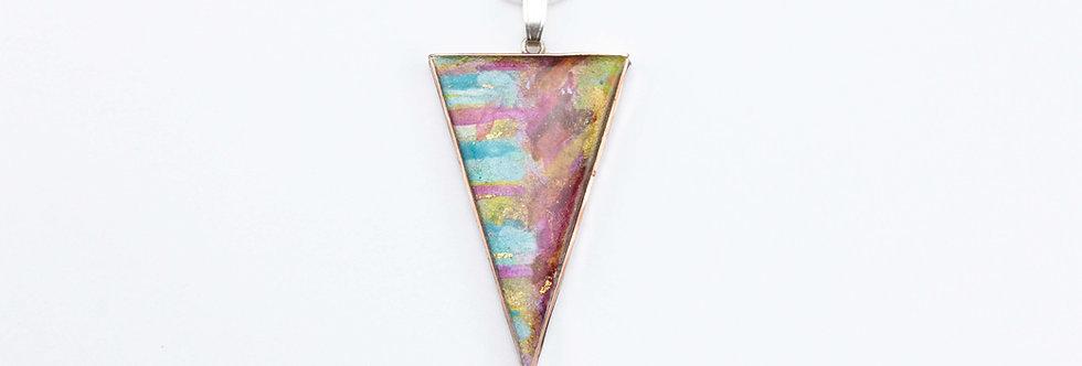 Blues/Greens/Magenta/Burnt Orange - Triangular Pendant
