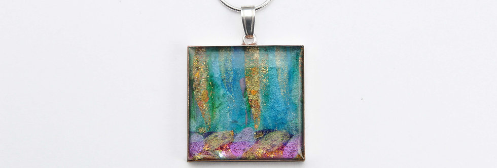 Purple/Blue/Green/Copper Square Pendant