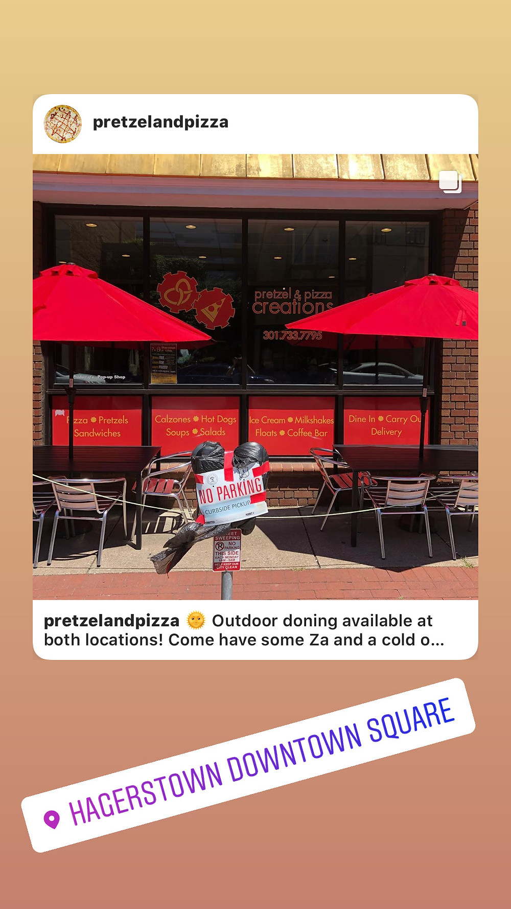outdoor dining at downtown Hagerstown md location