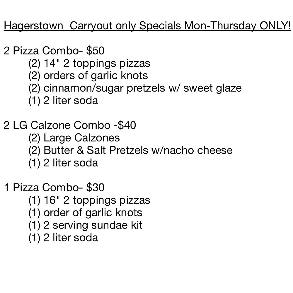hagerstown carry out specials