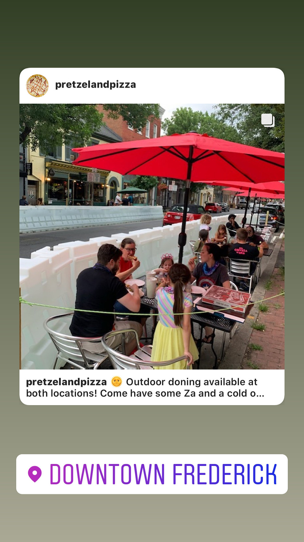 outdoor dining at downtown Frederick md location