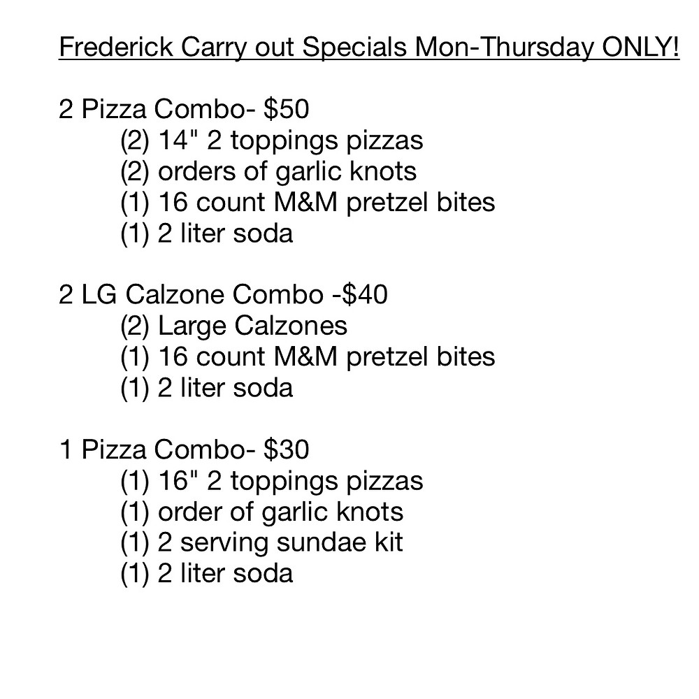 frederick carryout specials